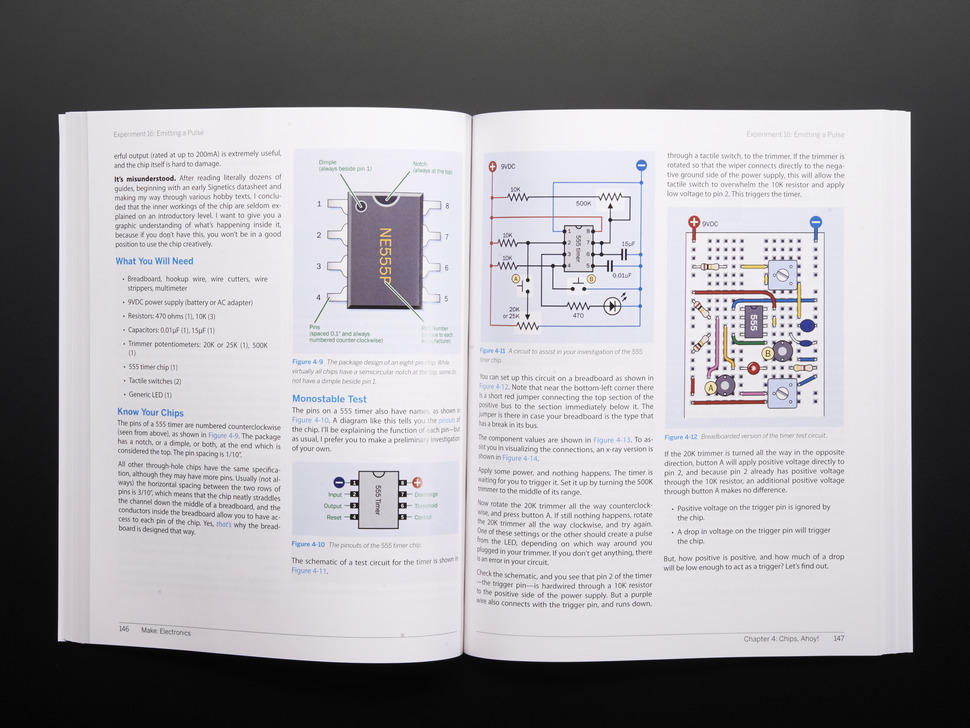 Page of Make: Electronics. Pictures and electrical diagrams.