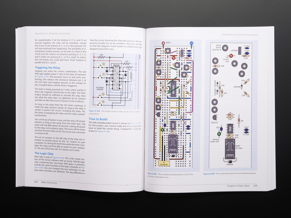Page of Make: Electronics. Various electrical diagrams.