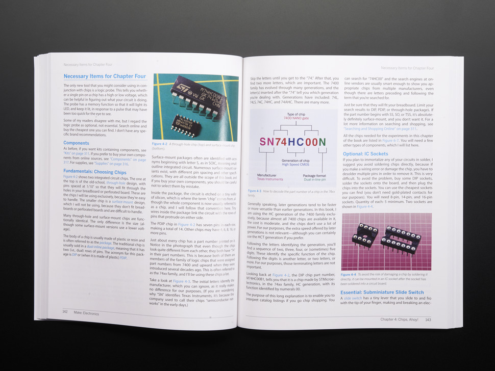 Page of Make: Electronics. Various Pictures.