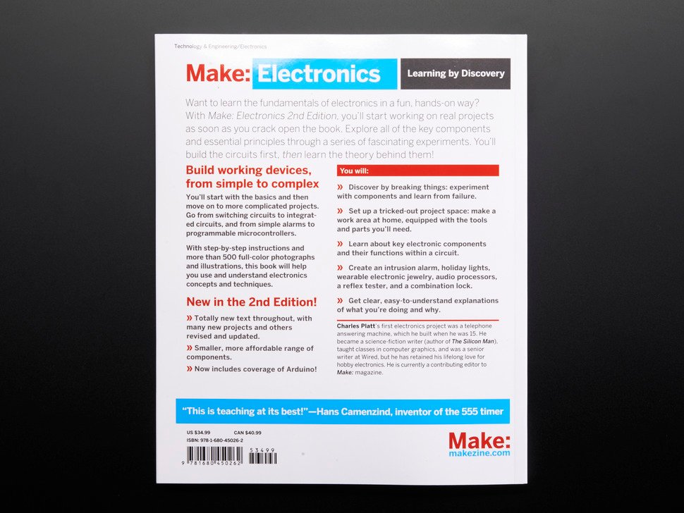 Back Cover of Make: Electronics.