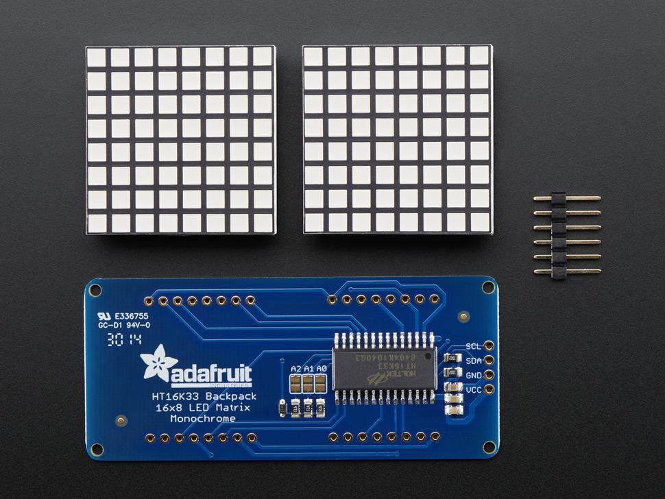"16x8 1.2"" LED Matrix + Backpack - Ultra Bright Square Blue LEDs"