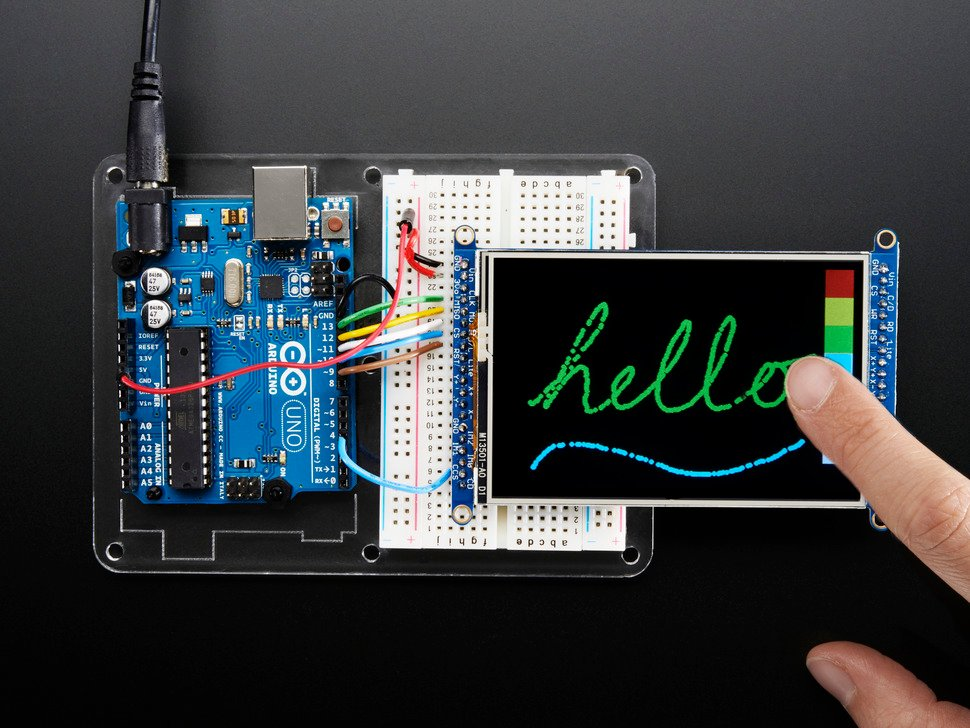 TFT breakout wired to arduino, hand drawing a cursive hello using touchscreen