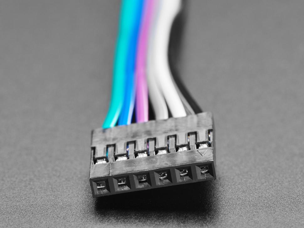 "6-conductor 0.1"" socket-socket cable - 6"" long"