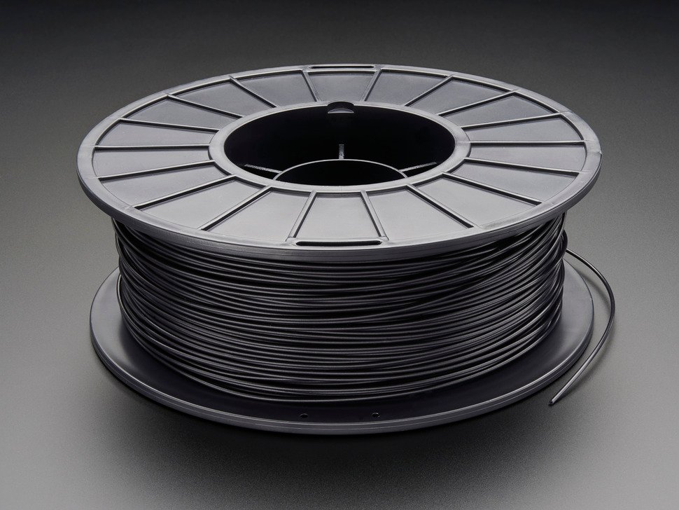 Spool of PLA filament for 3D Printers - black color with 1.75mm Diameter.