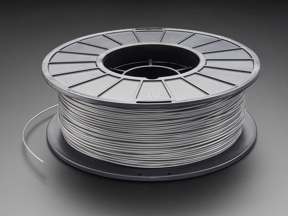 Spool of PLA Filament for 3D Printers - Silver gray color with 1.75mm Diameter