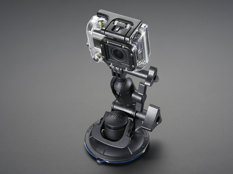 multi-jointed go-pro camera mount with many knobs