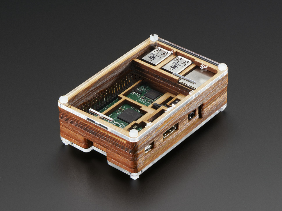 Angled shot of assembled Timber Pibow - Enclosure for Raspberry Pi Model B+ Computers.