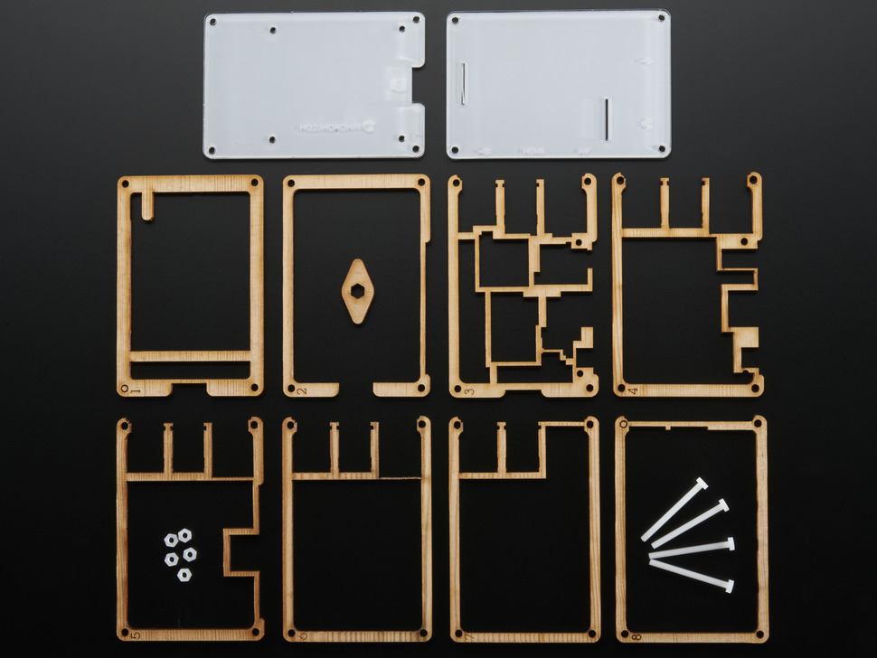 Assembly pieces and hardware kit for Timber Pibow - Enclosure for Raspberry Pi Model B+ Computers.