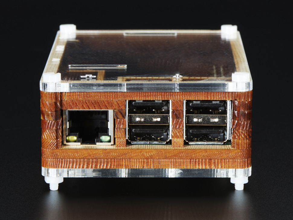 Side shot featuring Ethernet and USB ports on assembled Timber Pibow - Enclosure for Raspberry Pi Model B+ Computers.