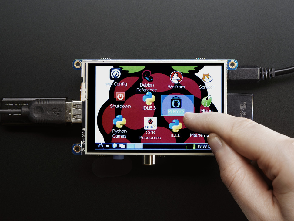 "PiTFT - Assembled 480x320 3.5"" TFT+Touchscreen for Raspberry Pi"