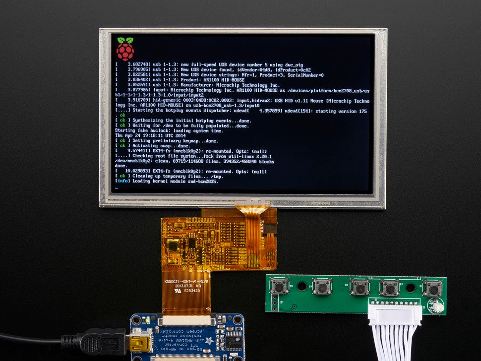"HDMI 4 Pi: 5"" Display w/Touch and Mini Driver - 800x480 HDMI"