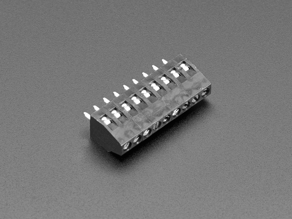 Reverse angled shot of black 9-pin terminal block.