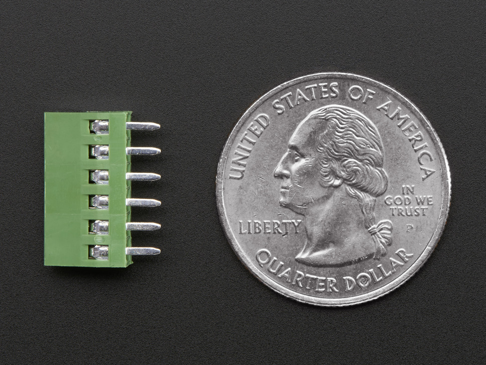Bottom of green 6-pin 2.54mm terminal block next to US quarter for scale.