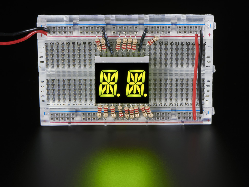 "Dual Alphanumeric Display - Yellow-Green 0.54"" - Pack of 2"