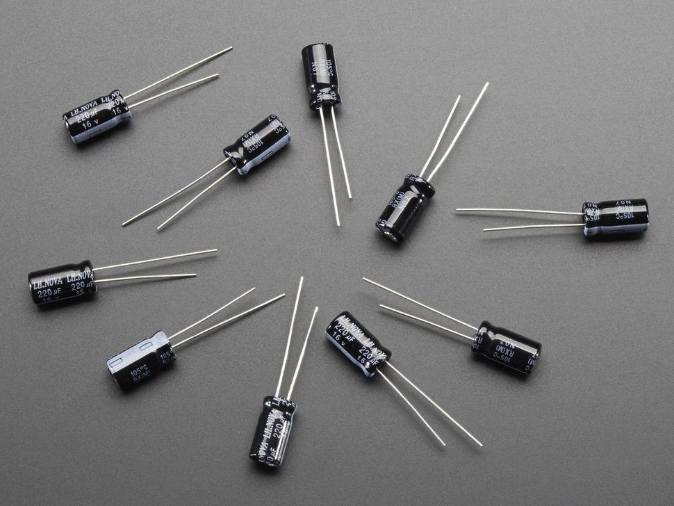 220uF 16V Electrolytic Capacitors - Pack of 10