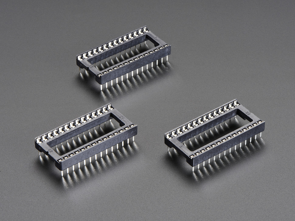 Pack of 3 IC Sockets for 28-pin 0.6 inch Chips