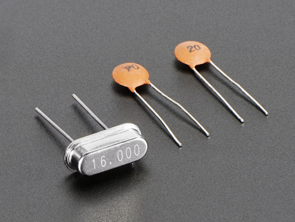 16 MHz Crystal with two 20pF capacitors