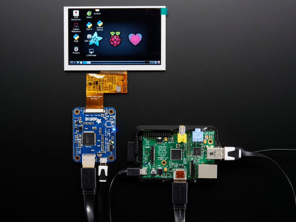 Breakout connected to TFT and Raspberry Pi, showing Pi desktop screen