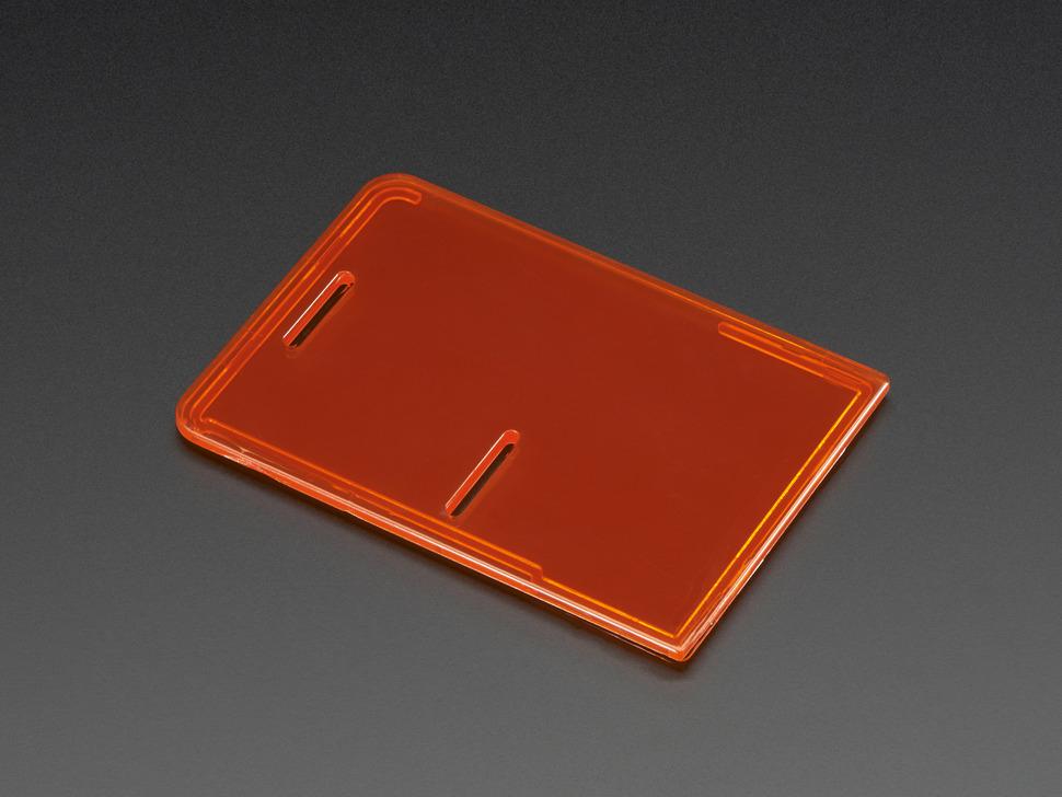 Angled shot of Raspberry Pi Model B+ / Pi 2 / Pi 3 Case Lid in Orange.