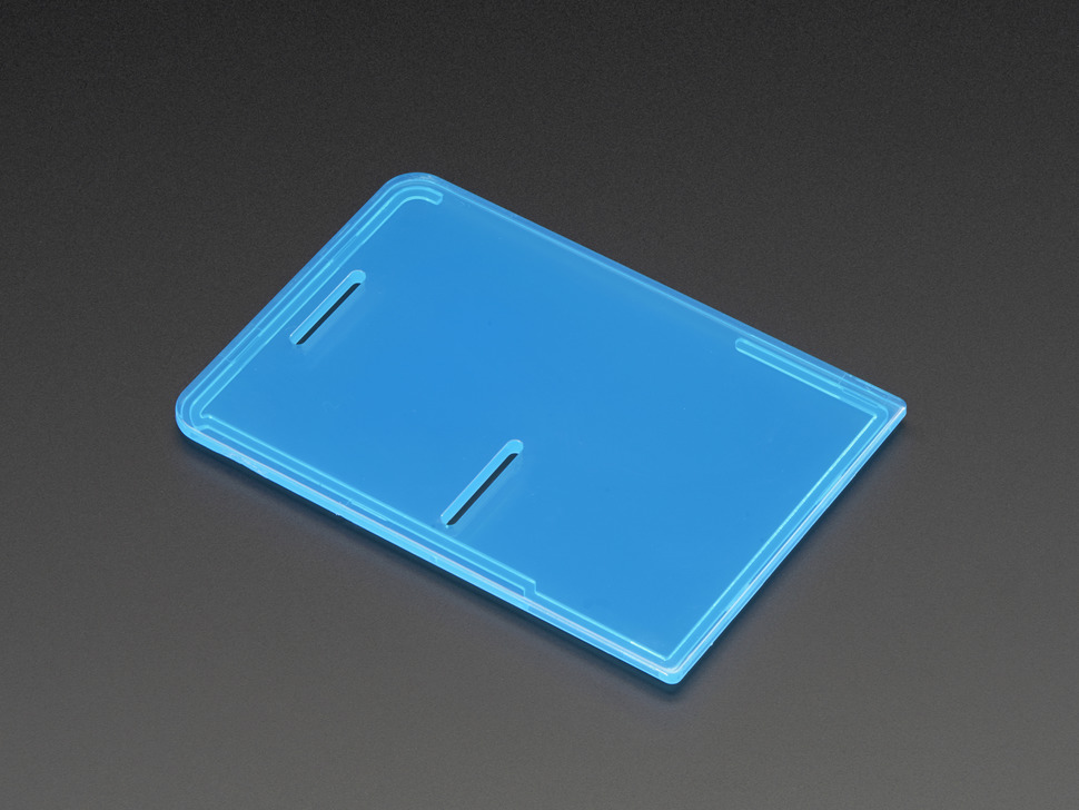 Angled shot of Raspberry Pi Model B+ / Pi 2 / Pi 3 Case Lid in blue.
