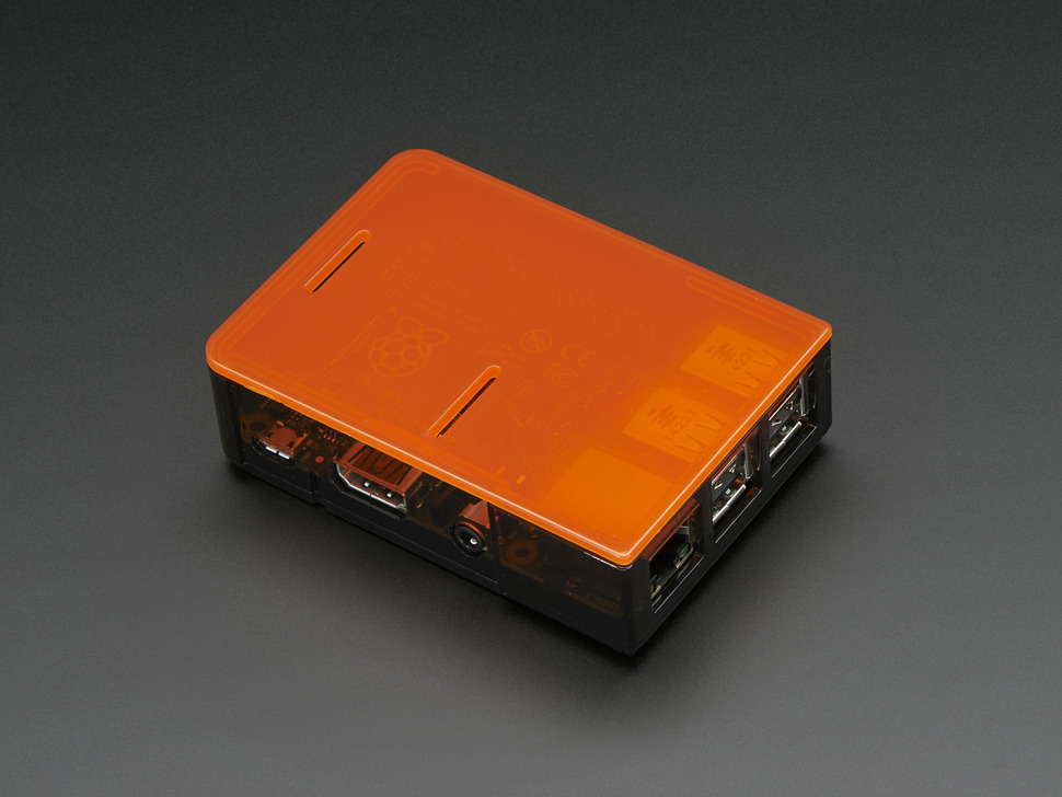 Black Pi Model B+ / Pi 2 / Pi 3 Case Base with an orange lid.