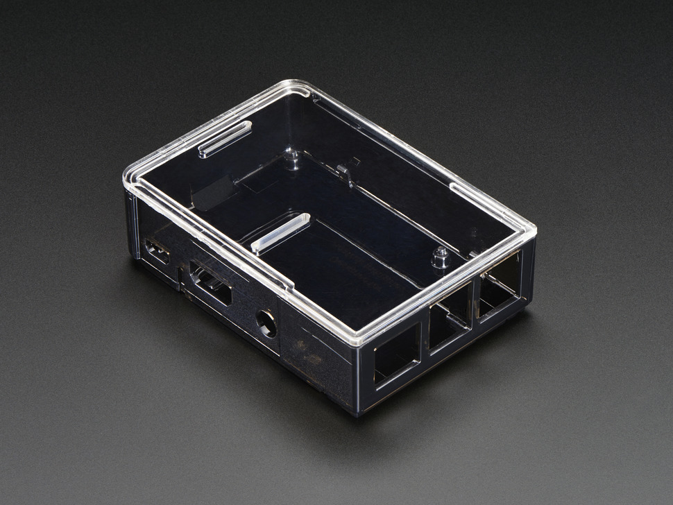 Angled shot of assembled-but-empty black Pi Model B+ / Pi 2 / Pi 3 Case Base.