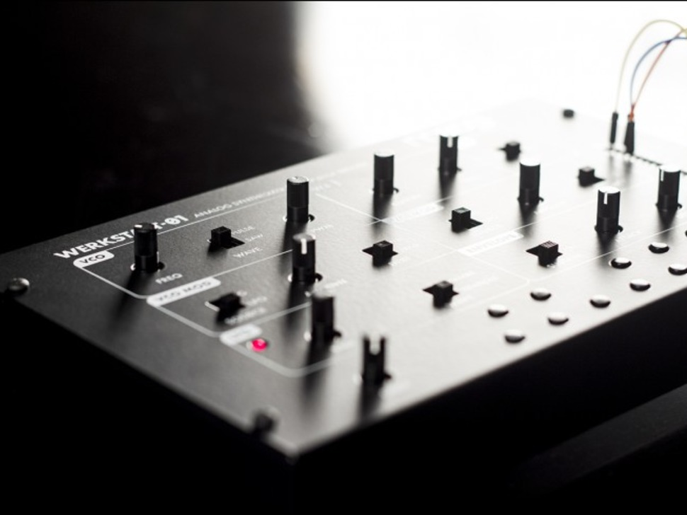 Artsy shot of synthesizer showing knobs