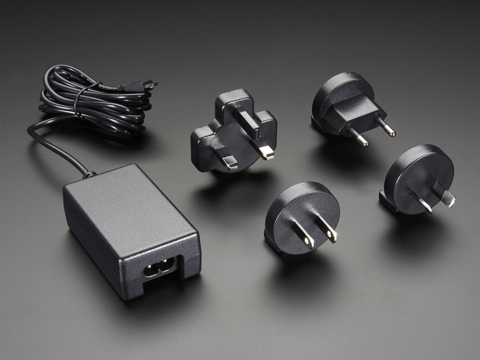 5V 2A Power Supply with 20AWG 6' MicroUSB Cable and International Plug set