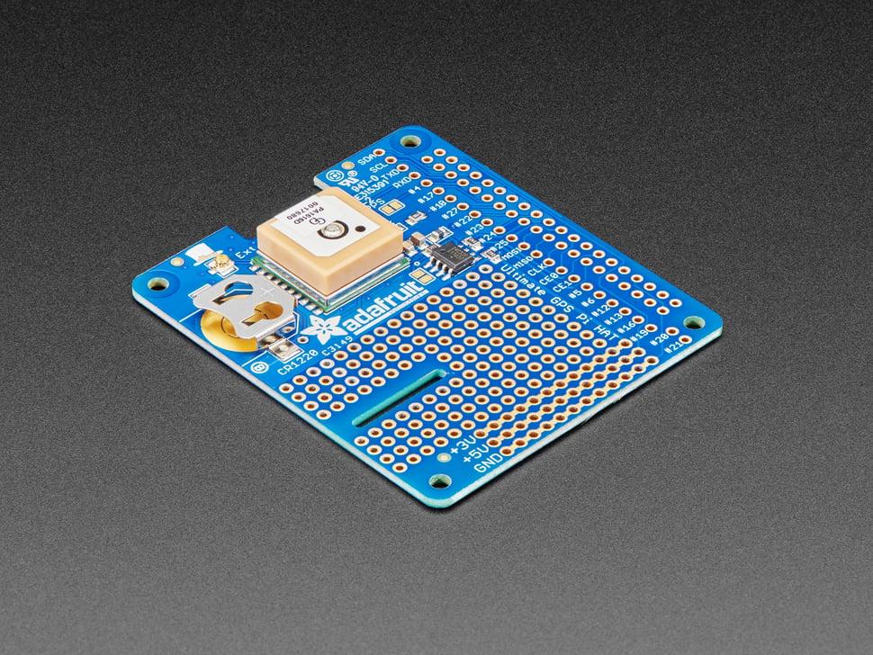 Angled shot of Adafruit Ultimate GPS HAT for Raspberry Pi A+/B+/Pi 2/3/Pi 4