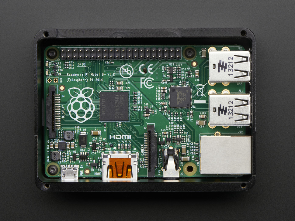 Anidees Black Case w/ Smokey Top for Raspberry Pi B+/Pi 2/Pi 3