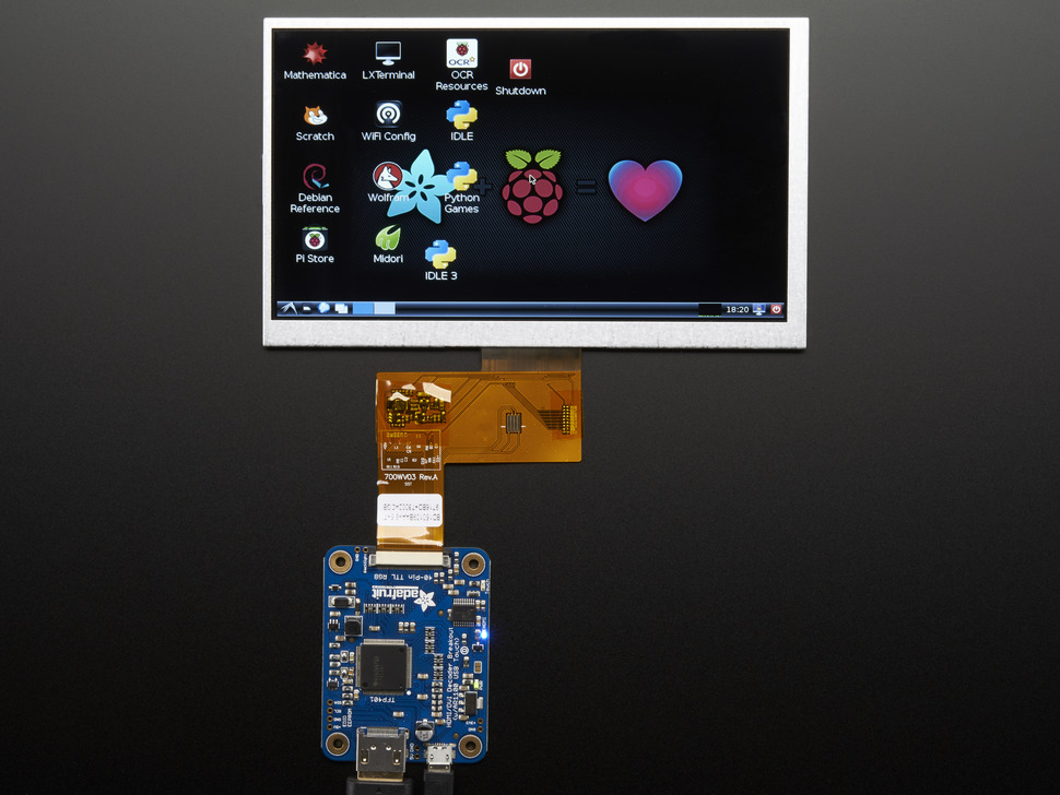 TFT connected to HDMI driver, showing Raspberry pi desktop