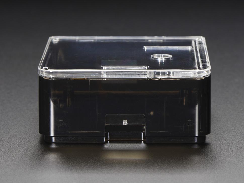 Side shot of assembled Adafruit Raspberry Pi A+ Case featuring microSD slot.