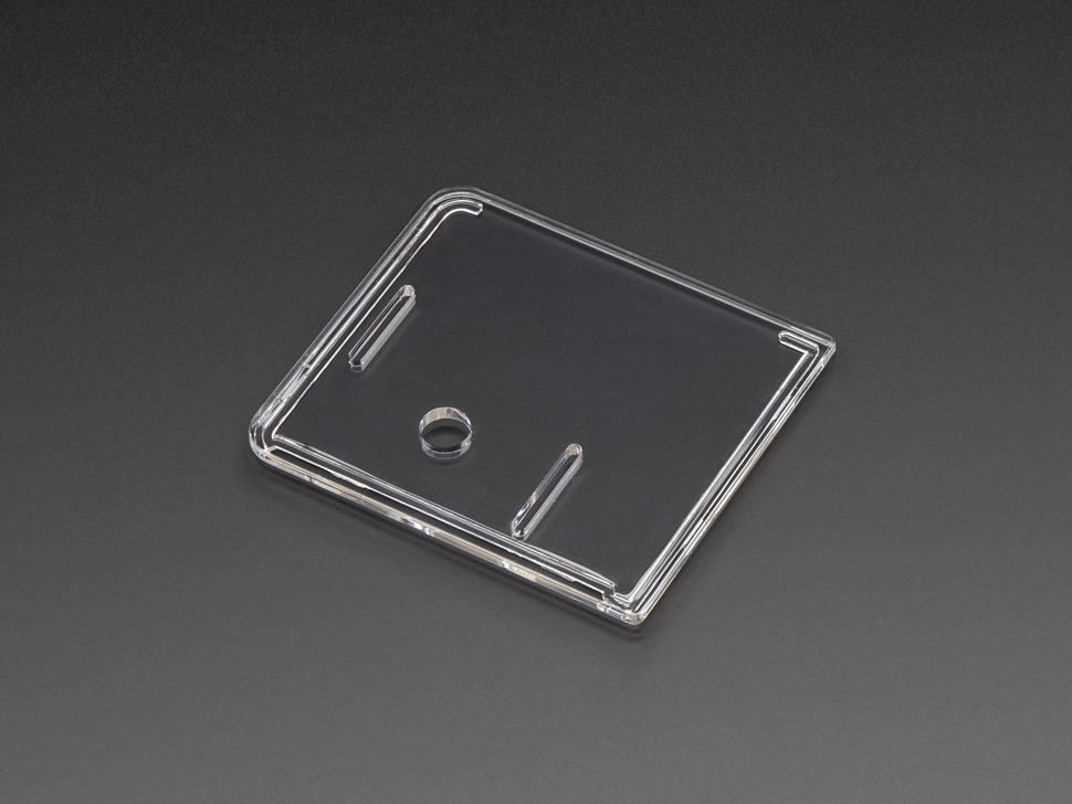 Angled shot of clear Raspberry Pi Model A+ Case lid.