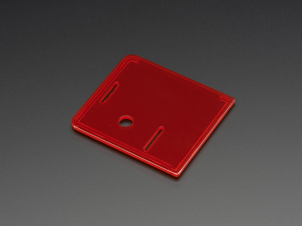 Angled shot of red lid for Raspberry Pi Model A+ Case.