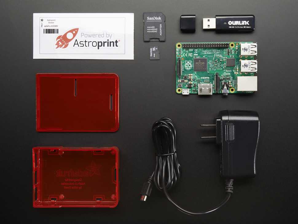 AstroBox pack with Raspberry Pi, enclosure, WiFi dongle, power supply and card