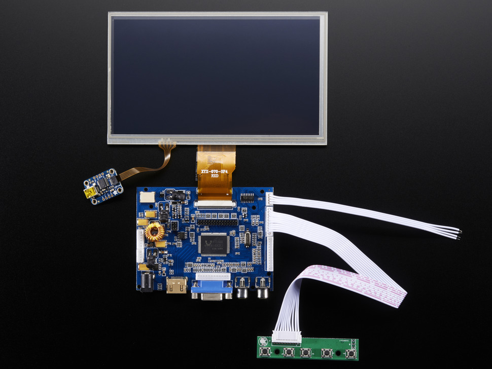 "HDMI 4 Pi: 7"" Display & Audio 1024x600 w/Touchscreen"