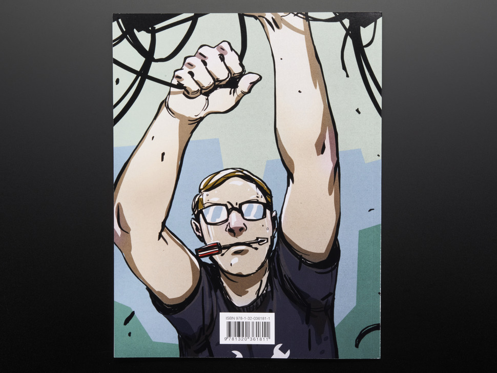 Illustration of a blond white man with glasses pulling at wires with a screwdriver in his mouth.