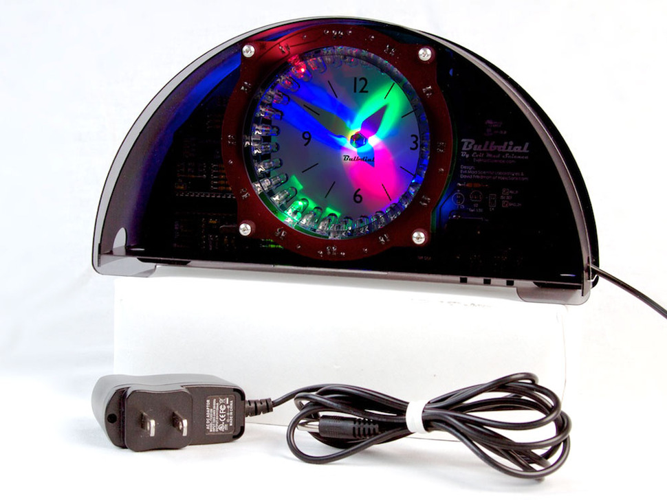 Bulbdial Clock kit - color LED with black/smoke case