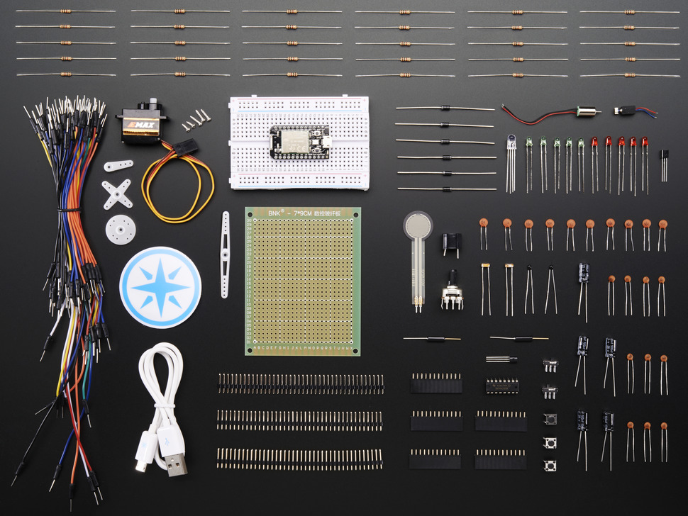 Particle Maker Kit with lots of components laid out