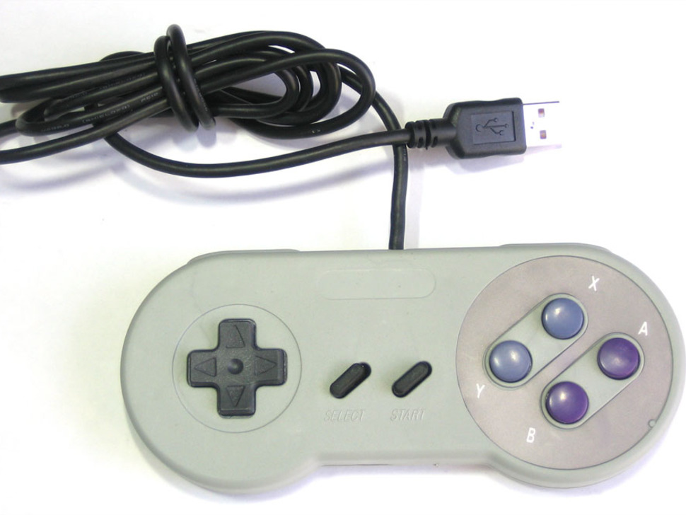 SNES controller with USB cable coming out of it