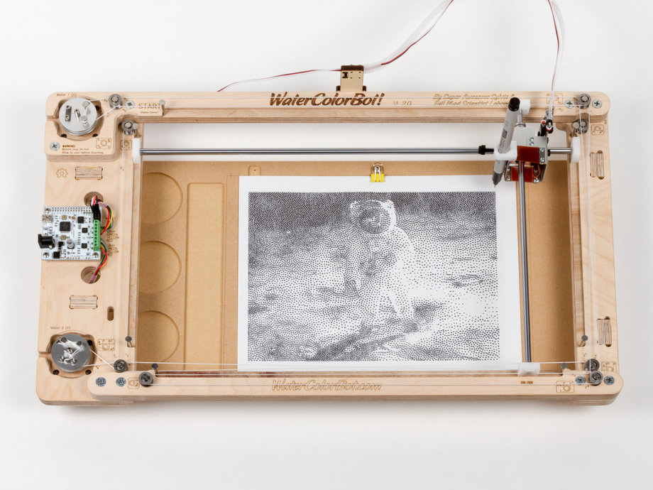 Robot with drawing of astronaut