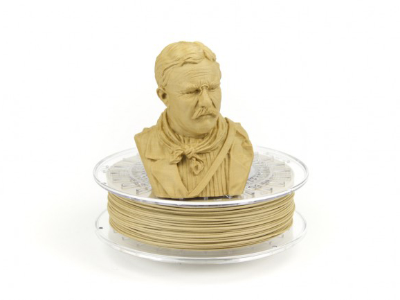 Image of male bust filament model above spool.