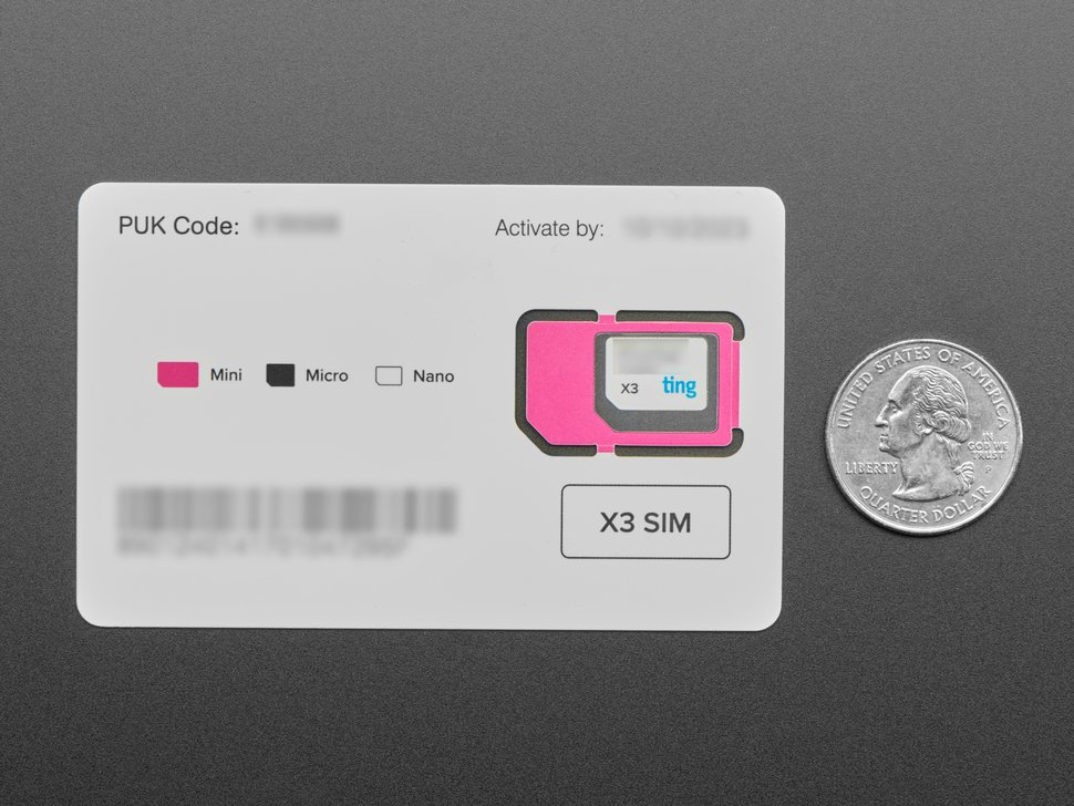 GSM SIM Card from Ting & Adafruit - Data/Voice/Text