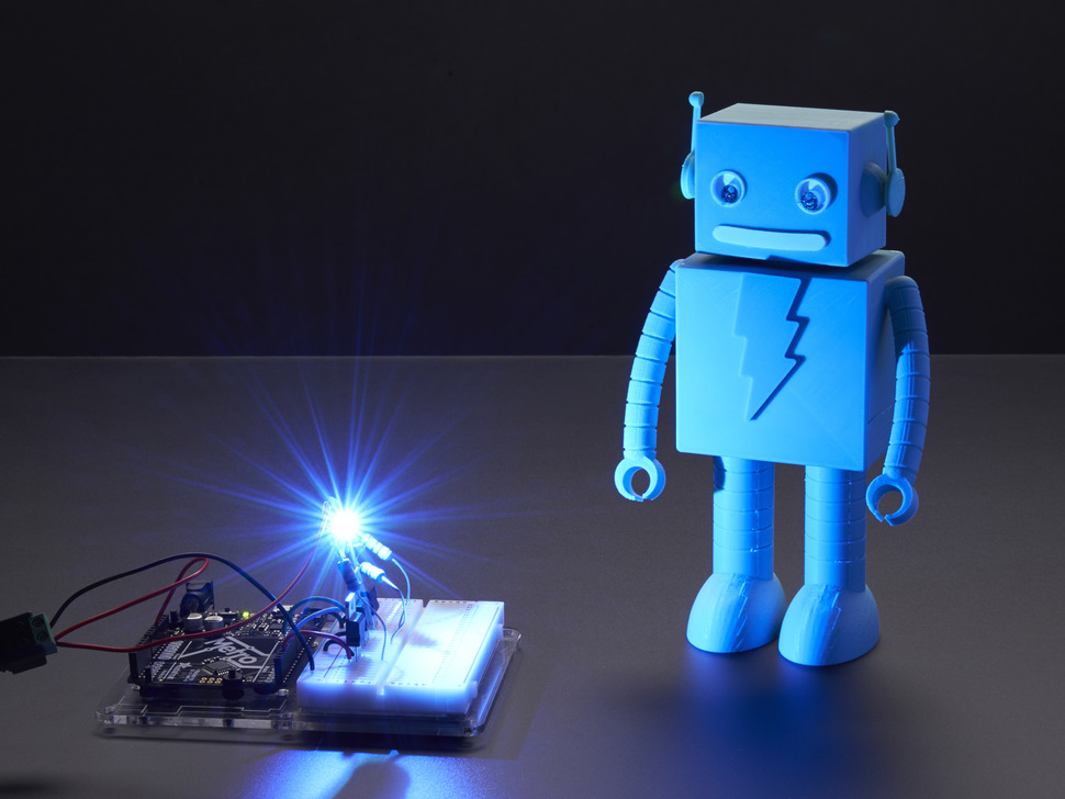 Very bright LED bathing robot figuring in blue light