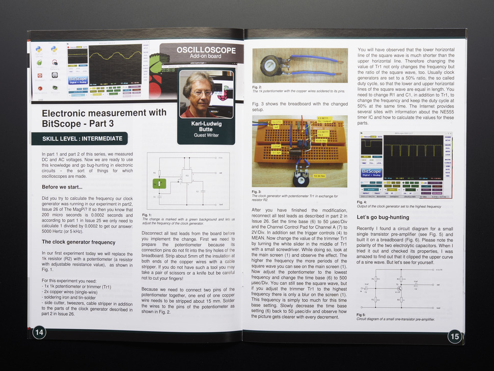 Opened magazine page on electronic measurement with BitScope part three. Skill level intermediate. Karl-Ludwig Butte writes about oscilloscopes.