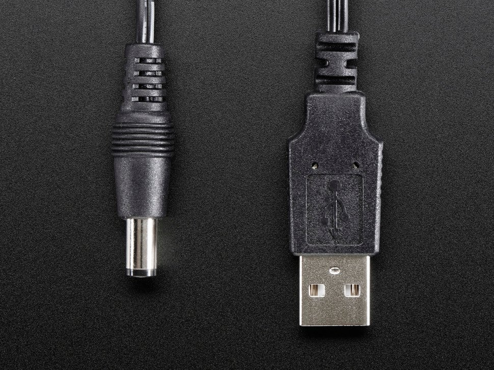 USB to 2.1mm Male Barrel Jack Cable - 22AWG & 1 meter