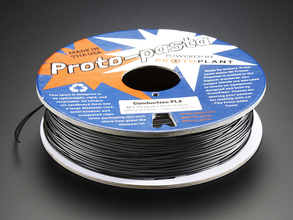 Spool of Proto-Pasta conductive filament for 3D Printers - black color with 1.75mm Diameter