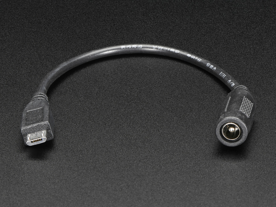 MicroUSB Plug to 5.5/2.1mm DC Barrel Jack Adapter