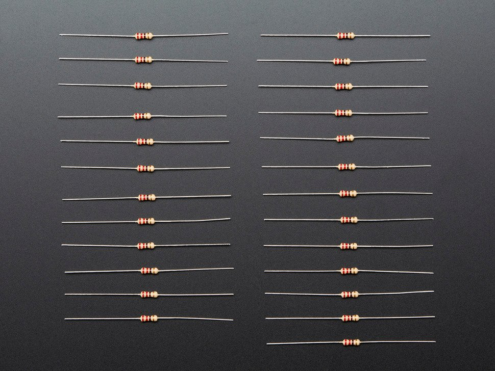 Through-Hole Resistors - 220 ohm 5% 1/4W - Pack of 25