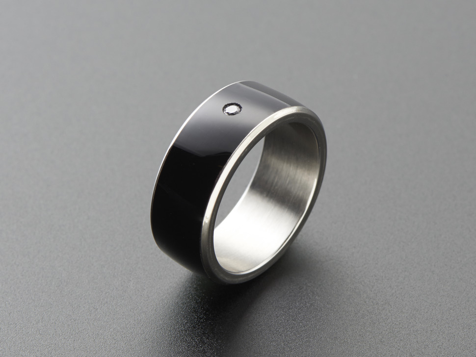 Black resin and metal ring